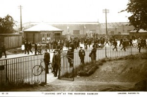 Leaving the Daimler car factory  Radford Coventry 1927 photograph